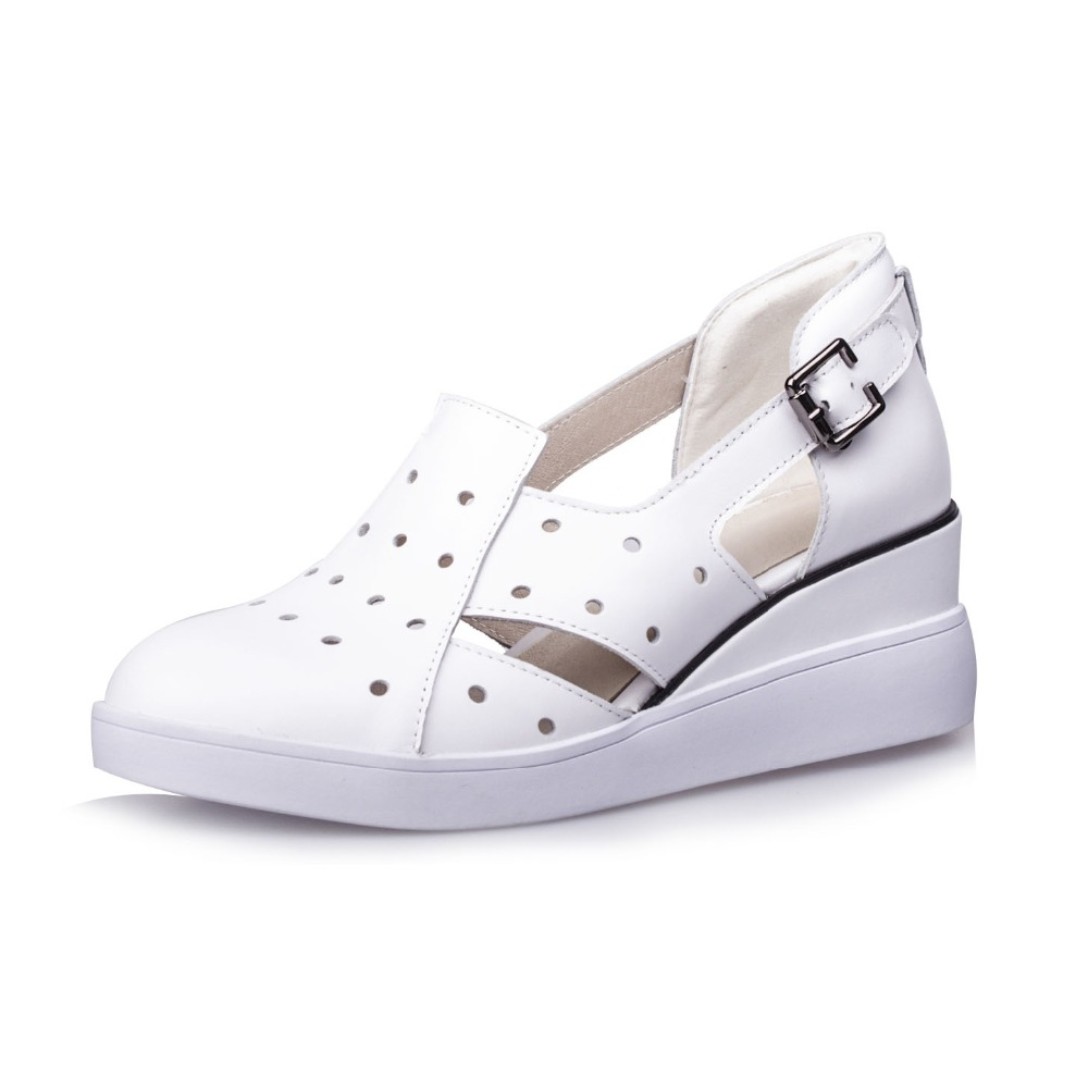 Genuine leather wedge summer shoes women casual