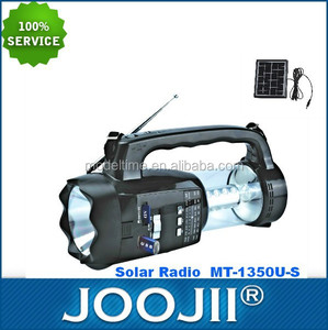 2015 New solar charger radio flashlight with USB SD MP3