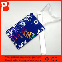 Coated Hats,Beddings,Scarves,Garment,Shoes,Bags,Toys Use purple paper garment hang tags with ribbon