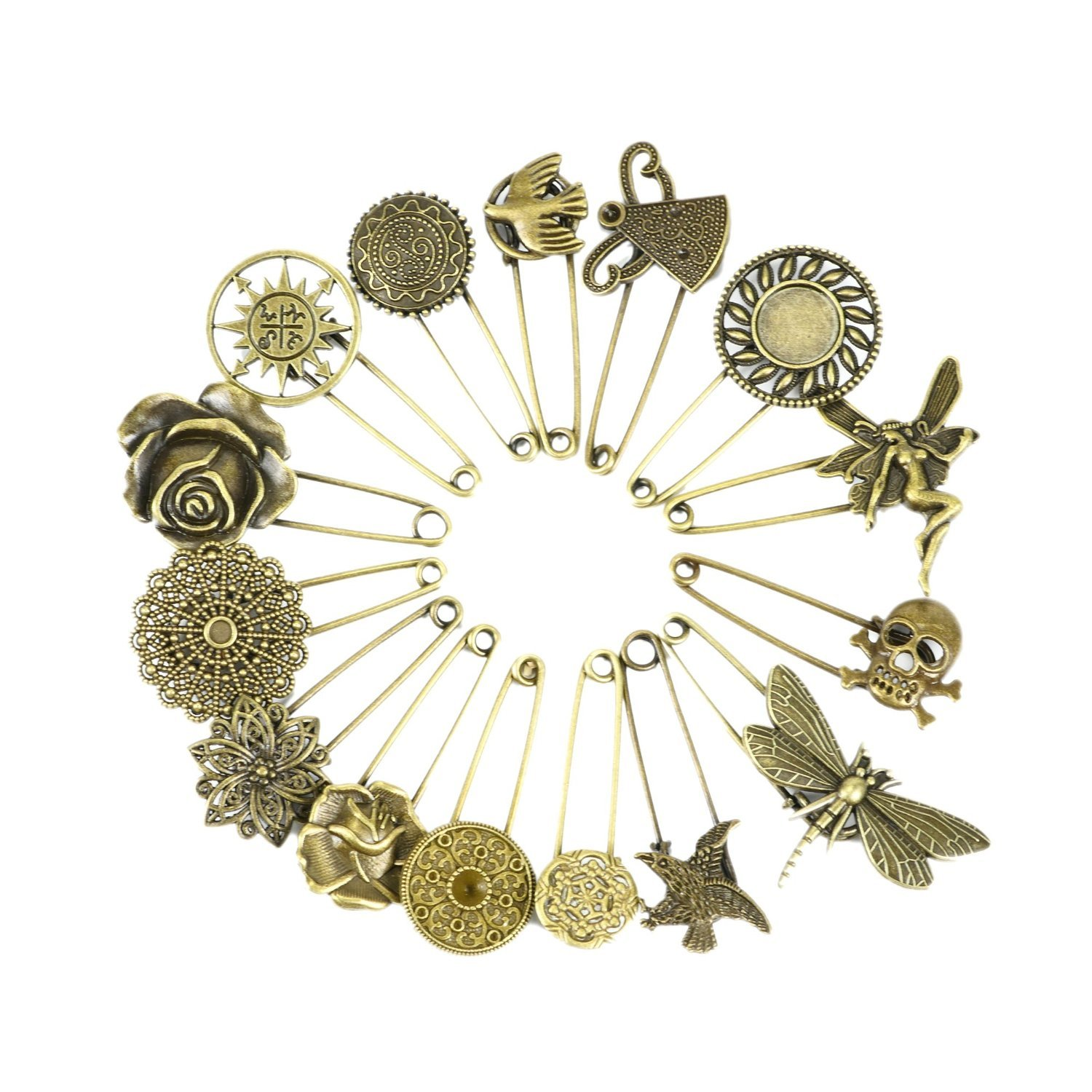 f16051417 Get Quotations · Wisehands 15 Pcs Bronze Vintage Brooch Pin Hijab Pin  Safety Pin Set
