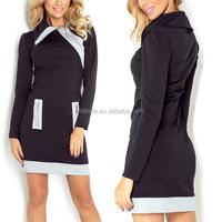 Contrast Business Woman European Popular Formal Chic New Style Long Sleeve Ladies Office Wear Dresses For Work Wear