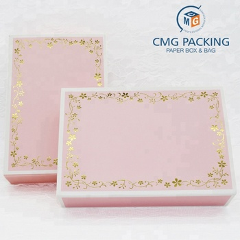 Pink lace gift boxes mooncake packaging for decorative package present cardpaper box