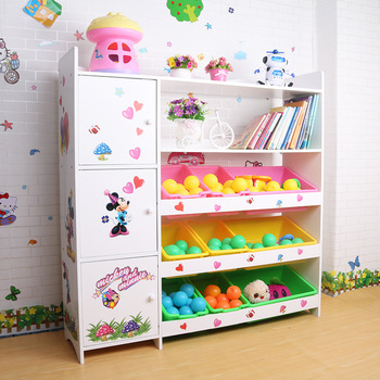 Hot Baby Cute Shelves Frame Storage Kids Colorful Wood Toy Shelf