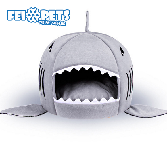 FX0029B Hot selling pet shark design bed warm cozy bed for dog