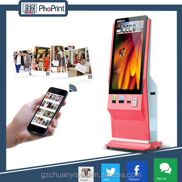 "42"" inch indoor LCD advertising display tv kiosk and cheap touch screen all in one pc with photo printer function"