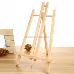 Set Mini Oil Painting Wood Frame Tripod Display Shelf Easel