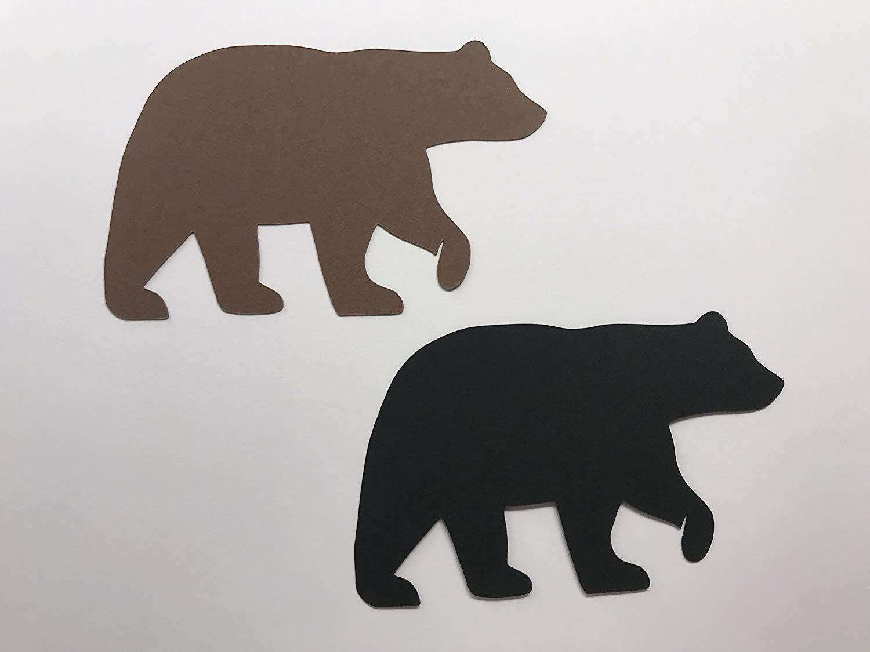 Brown Bear Die Cuts - Black Bear Die Cuts - Bear Decorations - Lumberjack Baby Shower - Lumberjack Birthday Party - Woodland Bear Confetti - 25 Die Cuts
