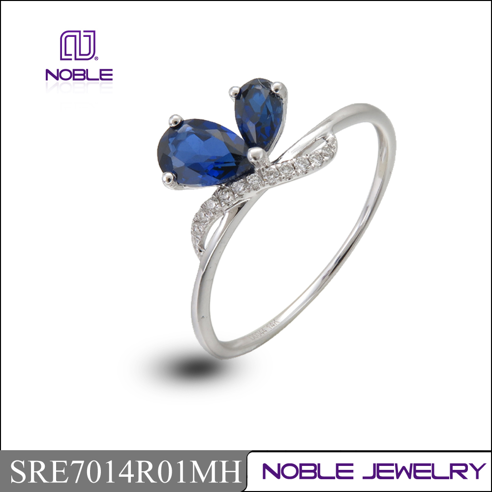 Hot selling jewelry 14K gold blue sapphire diamond ring