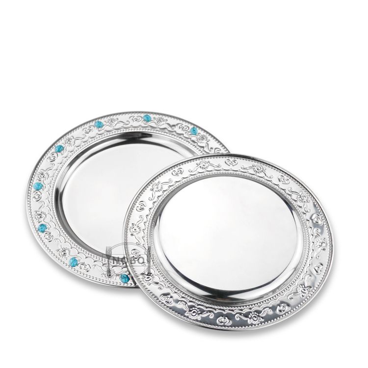 Royalty Settings Hammered Silver Luxury Beaded Decor Dishes Stainless Steel Wedding Plates Sets Dinnerware
