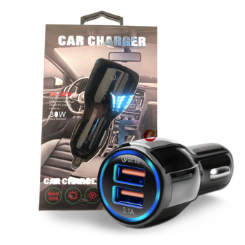 Quick Charge 3.0 + 3.1A Smart IC Dual USB Car Charger Adapter for any iOS or Android Devices