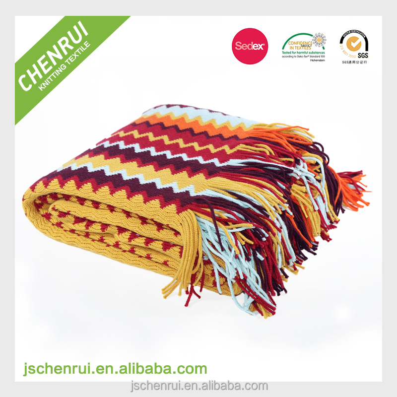 Hot new products fringe national style blanket with tassels