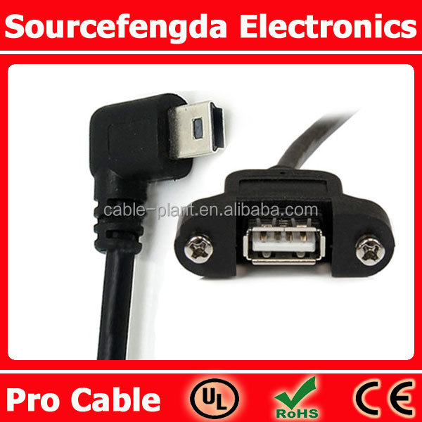 Panel Mount Usb Cable To Right Angle Mini Usb