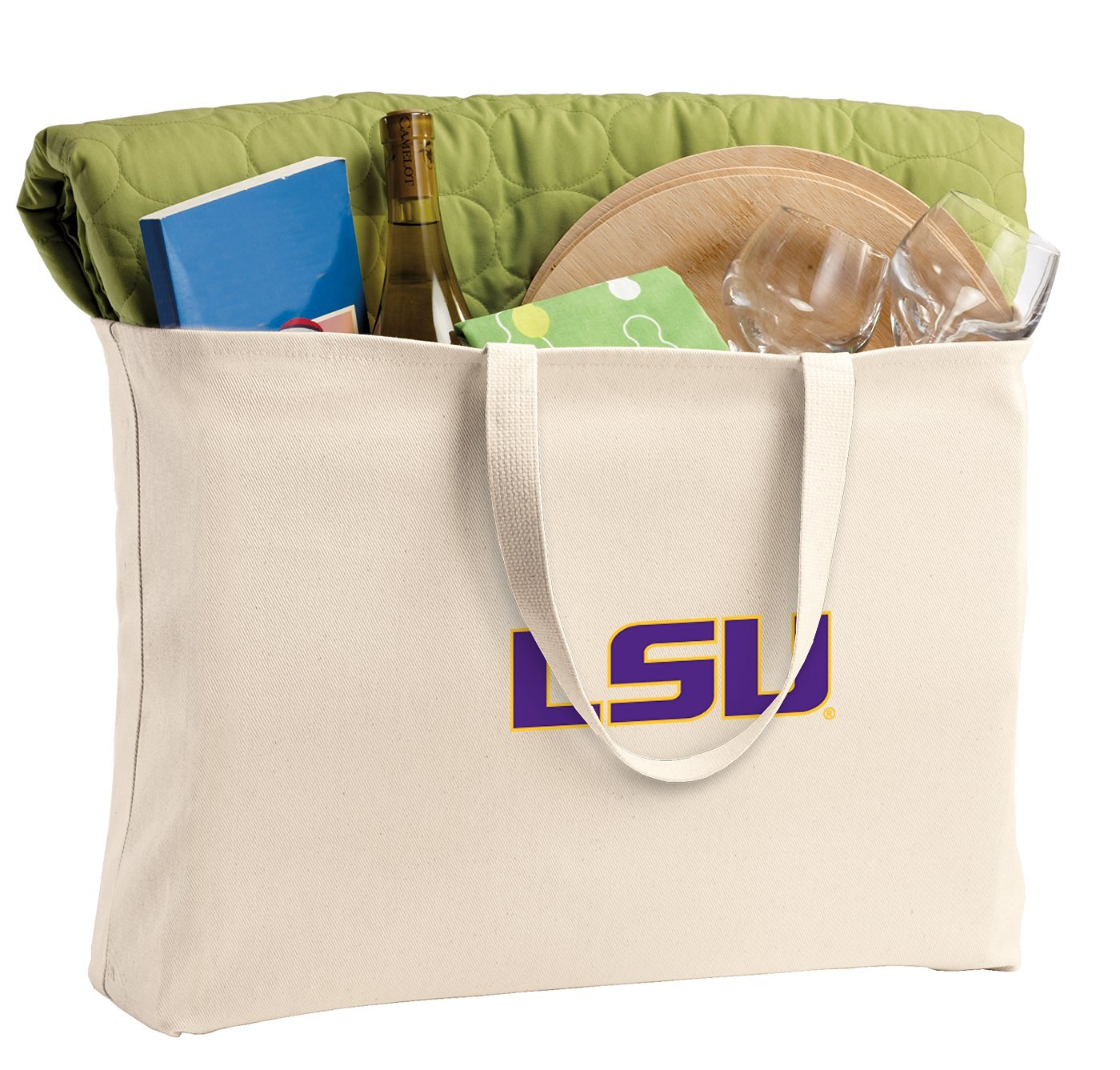 JUMBO LSU Tigers Tote Bag or Large Canvas LSU Shopping Bag