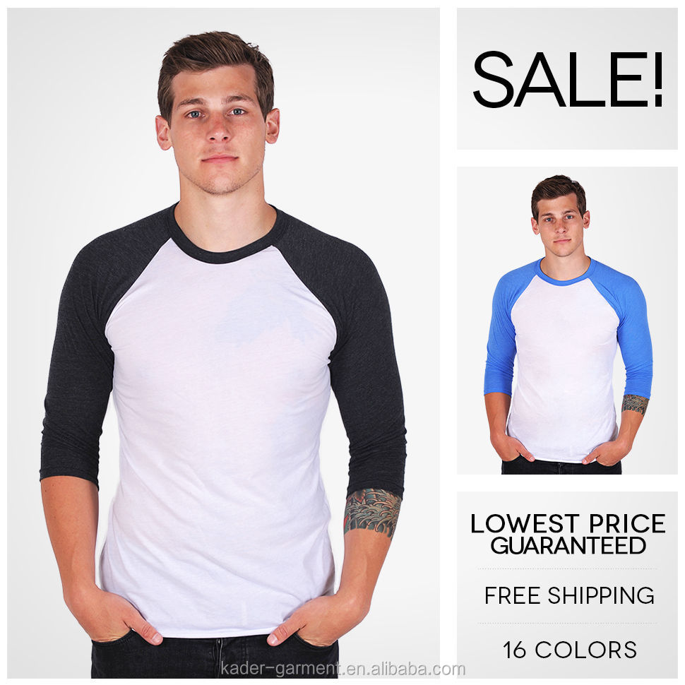 Long Sleeve Blank Men Raglan 34 Sleeve Baseball T Shirt Buy