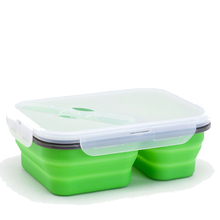 2 Compartments 실리콘 도시락 상자 Collapsible 실리콘 Lunch Box 대 한 Microwave 난방