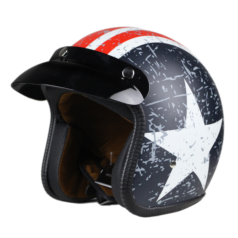 Motorcycle helmet Halley retro halfhelmet captain America