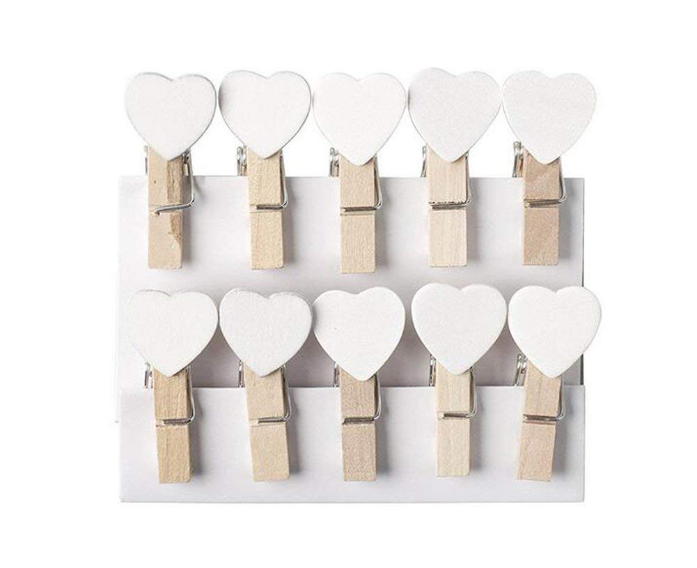Mini Wooden Heart Pegs Clips Message Photo Holder Card Paper Pegs Decor Photography Clothespins Photo Postcard Peg Wedding Decor Craft Clip Pack of 10