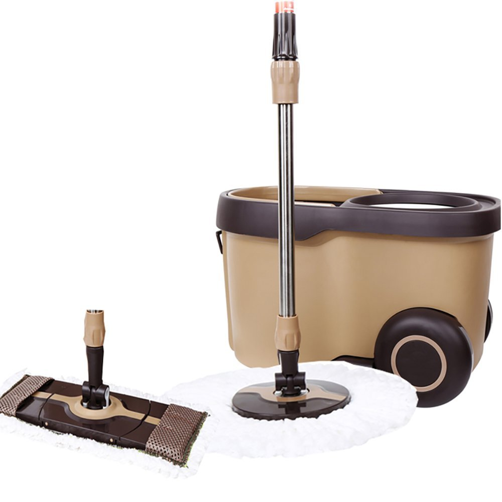 QFFL Mop And Bucket Set/Free Hand Wash/Flat Mop/Round Mop/Hand Pressure Type/Dual Drive/Rotate/Stainless Steel Microfiber/Brown Mop Wet Mops