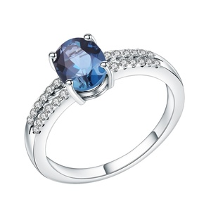 Abiding natural blue topaz gemstone custom 925 sterling sliver jewelry wedding ring women