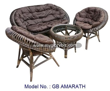 Natural Rattan Papasan Sofa Set For Living Room, Antique Rattan Sofa Set  Furniture, Indoor