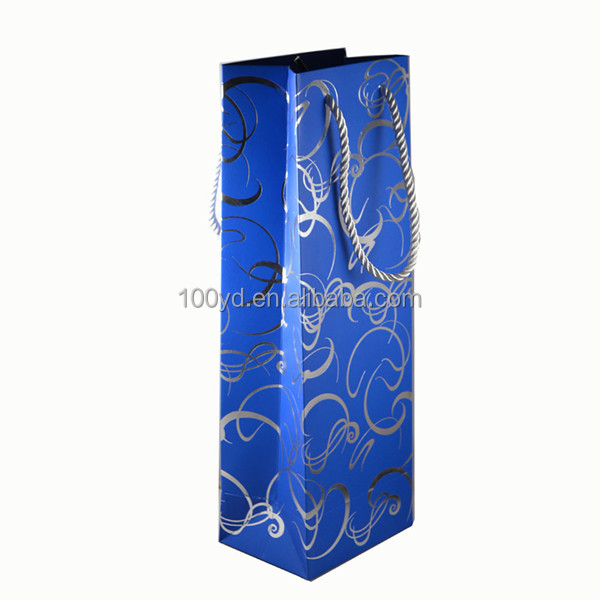 Custom Printed Shopping Gift Wine Bottle Carrier Paper Bags