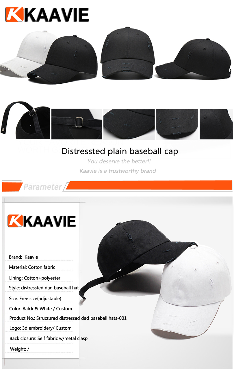 Custom 6 panel blank structured white black worn-out dad hats plain  distressed baseball cap 996ab5d966bf