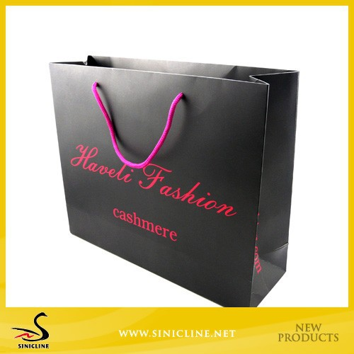 Sinicline Custom Pink Printing Paper Shopping Bags with BlackCard Material