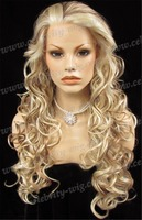 Wholesale Cheap Top Grade Quality Synthetic Hair Lace Front Wigs Highlight Blonde Long 26inch Wave Drag Queen Wig