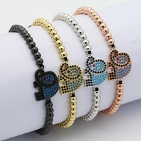 new designs 18k gold micro pave Elephant fashion hand bead charm bangles ,womens bracelet