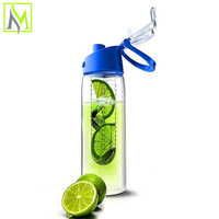 new products 2015 innovative plastic fruit infuser water bottle with Neoprene Insulated Sleeve & Strainer