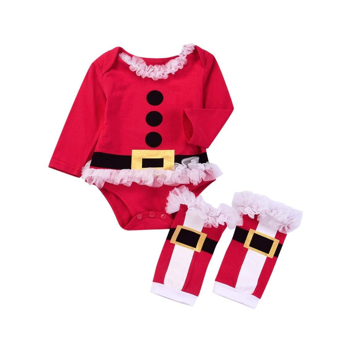 0633cbe5977c Get Quotations · Christmas Baby Clothes,2PCS Infant Baby Girls boys Christmas  Tutu Romper+Leg Warmer Set
