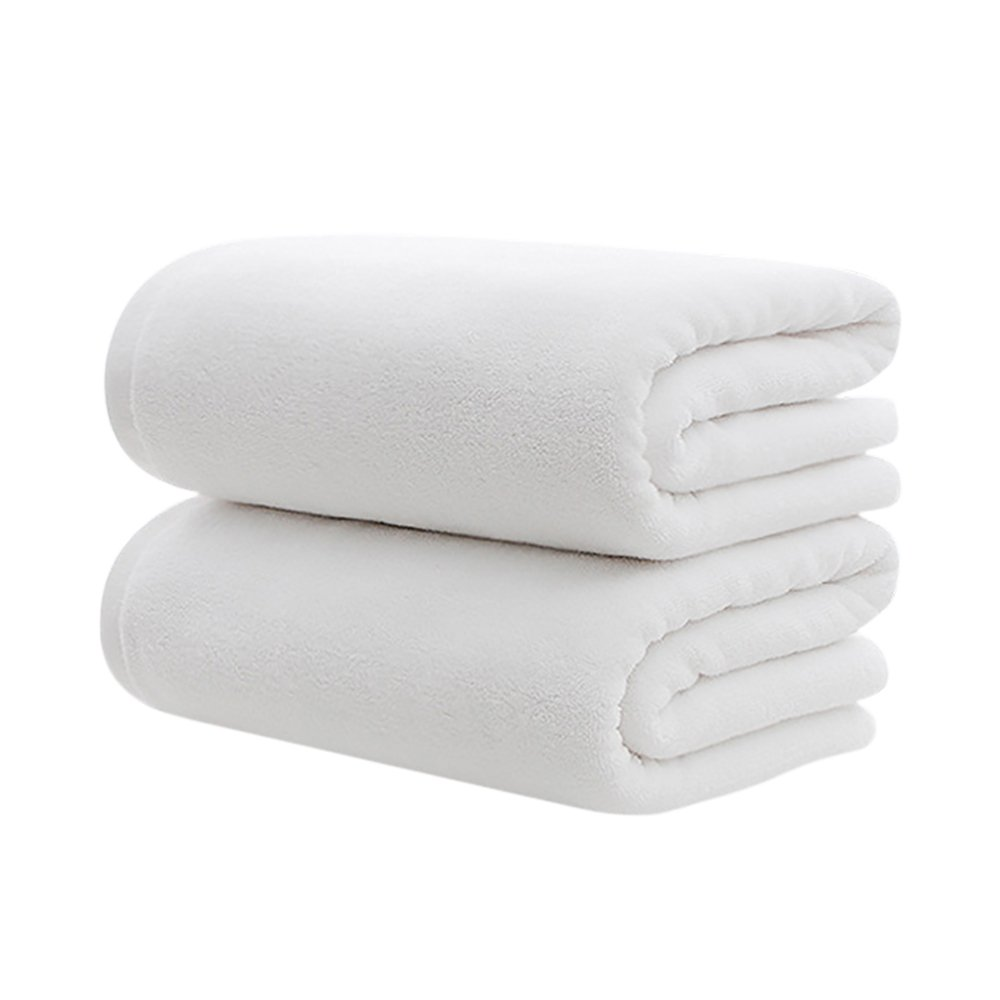Set of 2 Egyptian Cotton 500gsm Hotel Luxury White Bath Towel Large Beach Towel