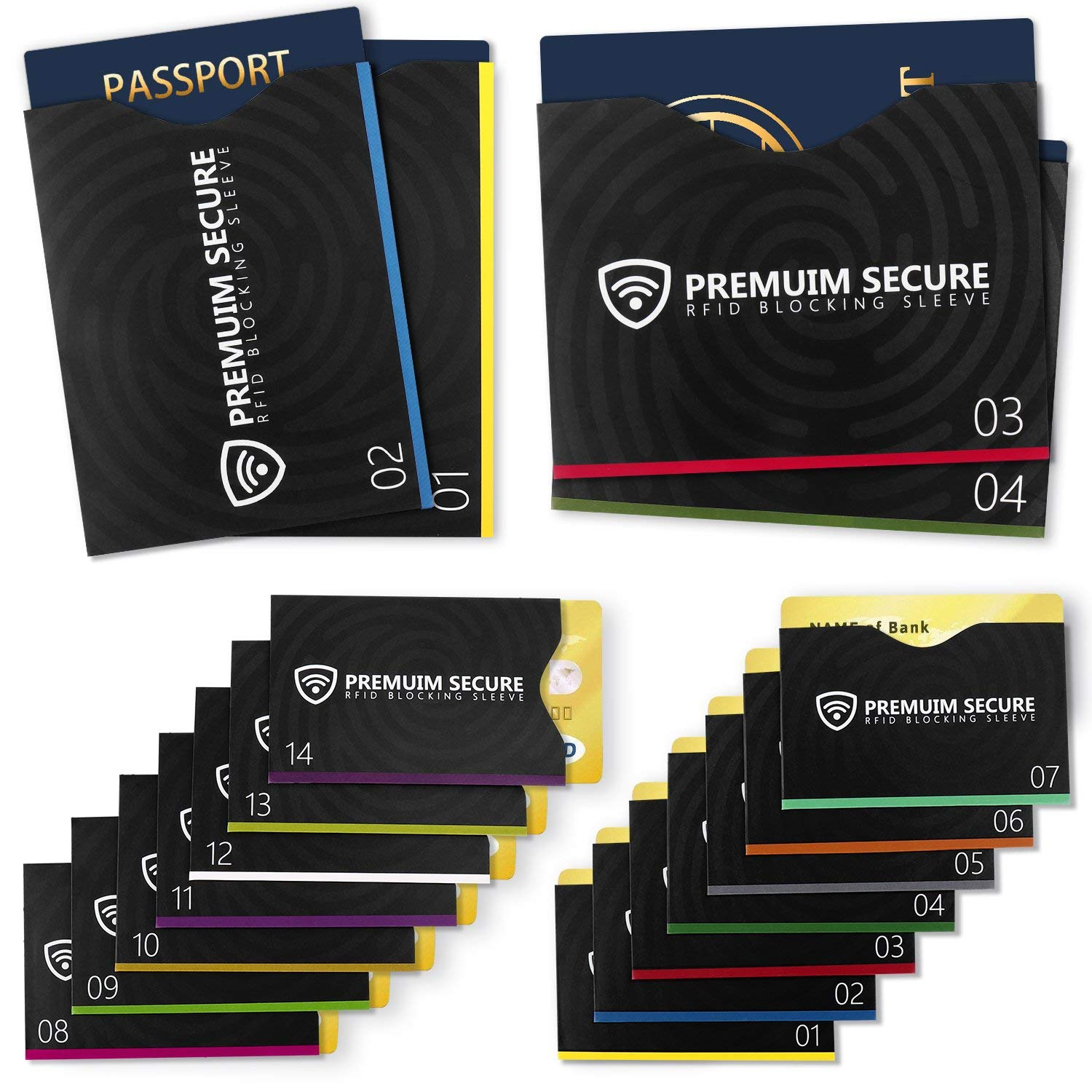 RFID Blocking Sleeves, Set of 18 (14 Credit Card Holders & 4 Passport Protectors) Against Identification Theft & Credit Card Fraud