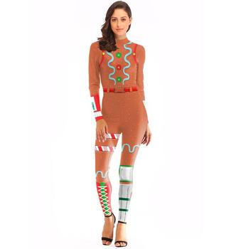 Sexy Women Print Catsuit Tight Bodysuit Accept OEM /ODM N37-2