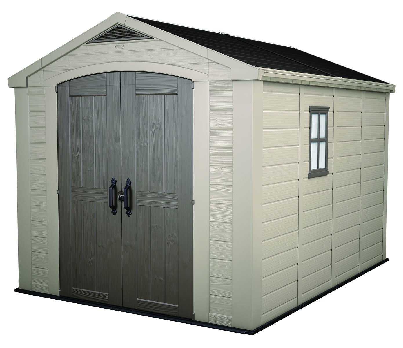 Keter Factor Large 8 x 11 ft. Resin Outdoor Yard Garden Storage Shed, Taupe/Brown