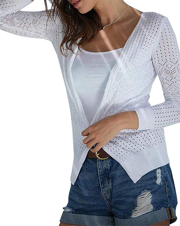 07749205490 Get Quotations · Yanekop Womens Crochet Cardigan Sweaters Hollow Long  Sleeve Open Front Knit Tops