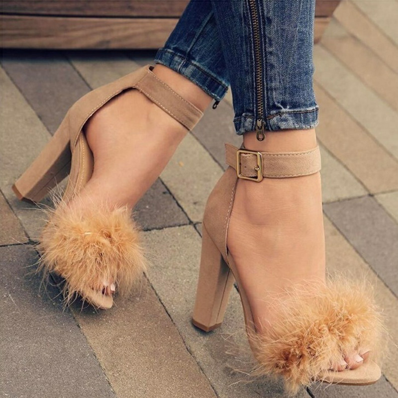 F20621A Wholesale fashion women high heels shoes suede fur sandles for ladies