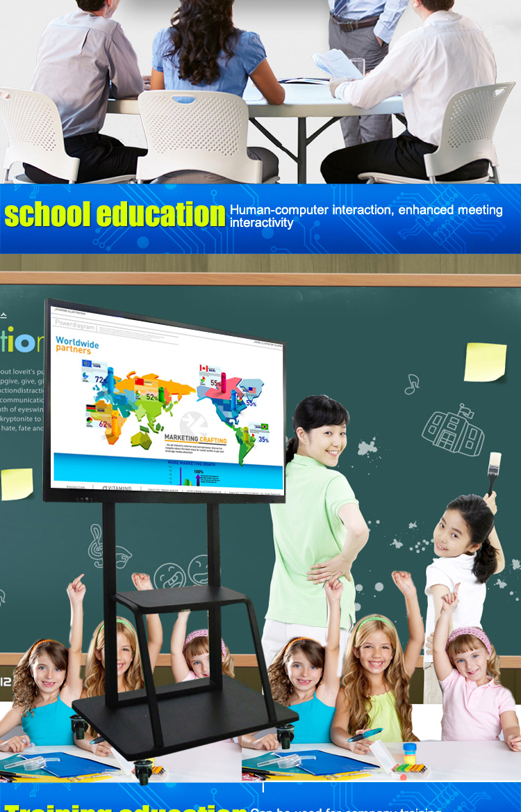 "65"" 75"" 86"" LCD multi-touch screen smart interactive digital white board for school"