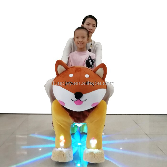 Shopping mall/games center motorized plush riding animals, battery operated walking horse toy