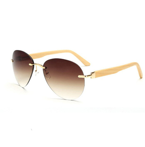 rimless aviation wooden sunglasses with logo