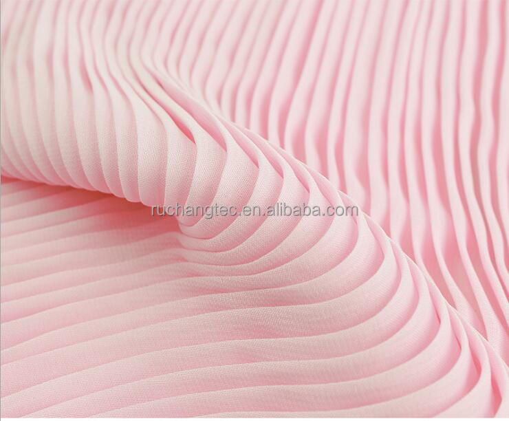 100% polyester soft ITY pleated chiffon fabric price per meter for dress