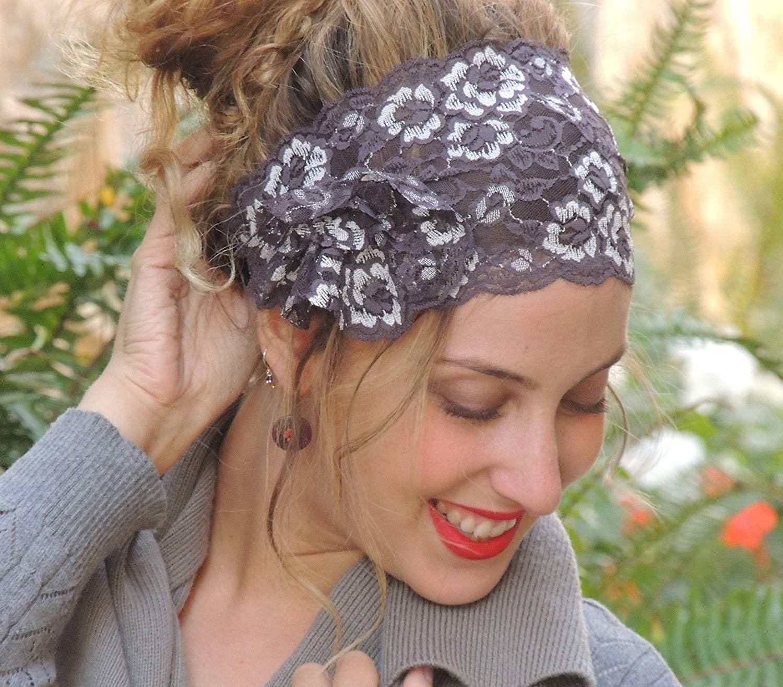 Get Quotations · Stunning Decorated Lace Headband Bandana 8bdd95c5951
