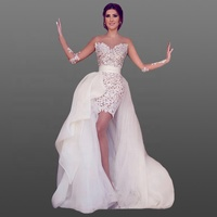 See Through Lace Bridal Dress Short Sheer Long Sleeve Sexy Wedding Dress with Detachable Train