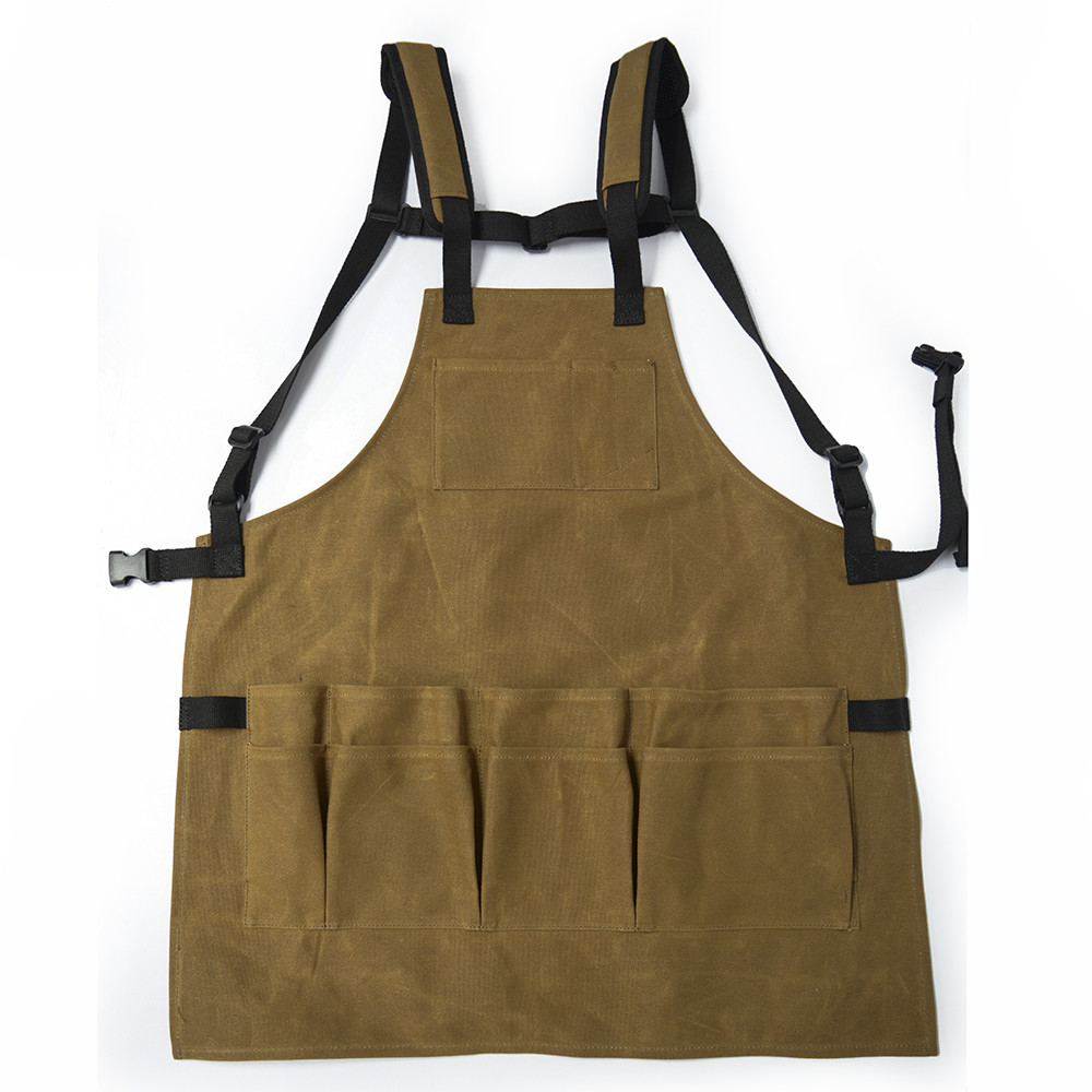 Heavy Duty Waxed Canvas Utility Apron Leather Utility Apron Chef Work Kitchen Cooking Apron with Pockets