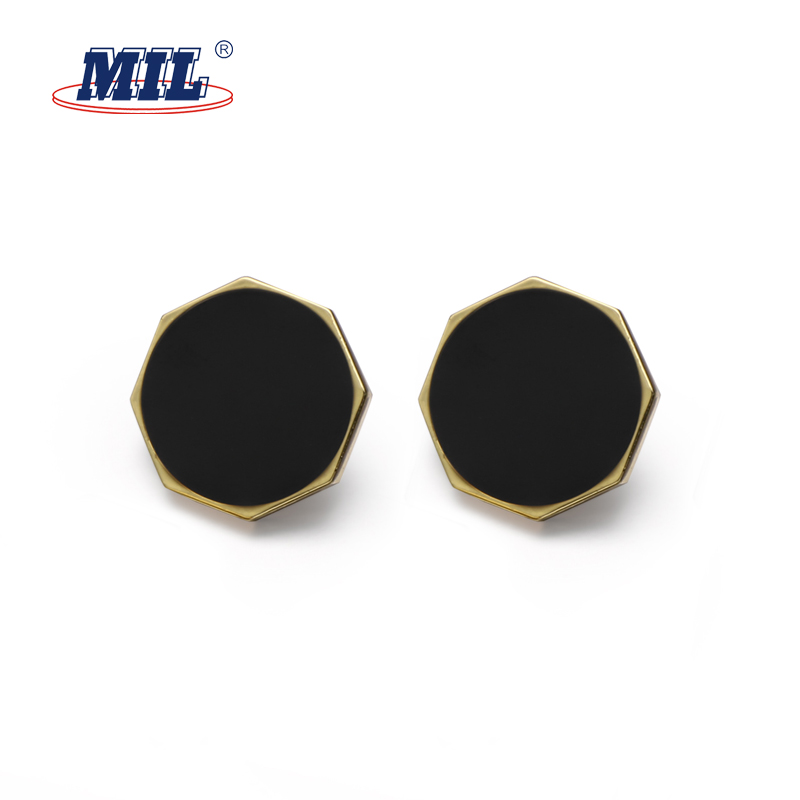 Hot sales custom zinc alloy octagon black metal shank button for overcoat