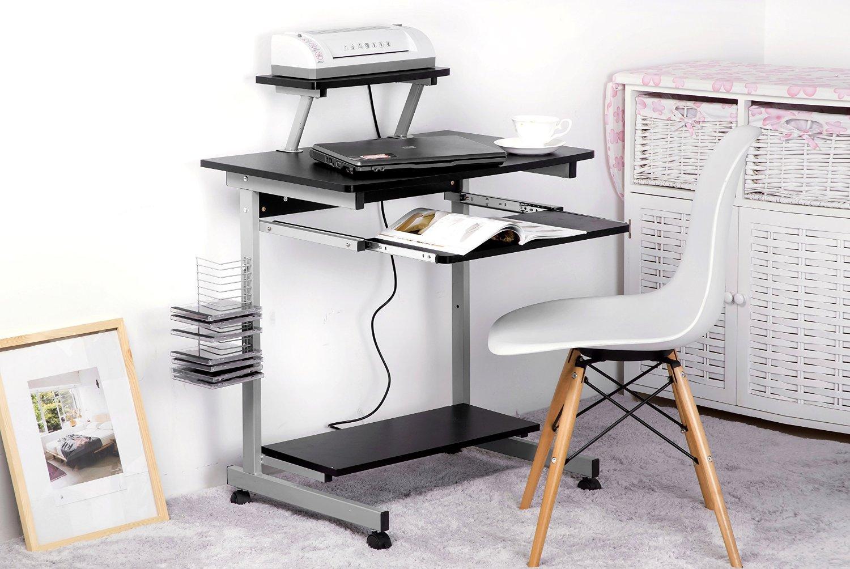 Merax Mobile Office Computer Desk MDF Computer Desk Modern Desk, Black