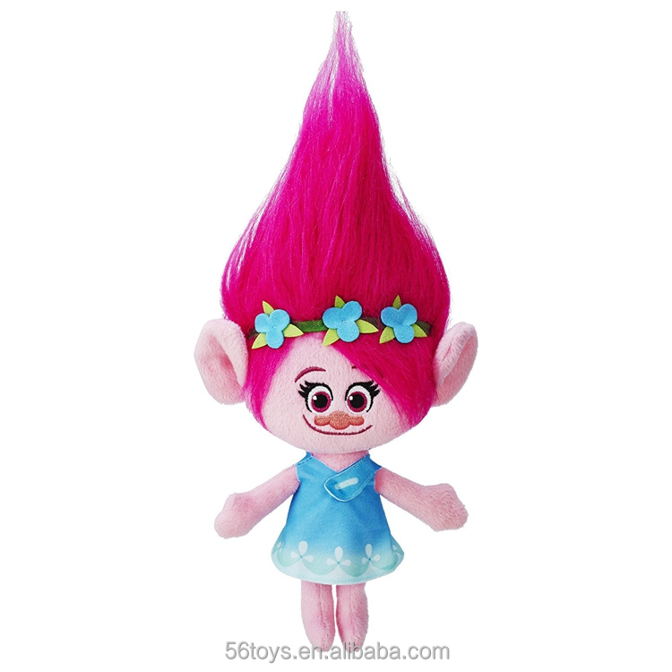 DreamWorks Poppy Girl Plush Doll with colorful hair troll toys
