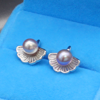 DIY fashion freshwater pearl ear stud women 925 silver latest design retro new ginkgo biloba shaped earrings