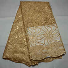Gold Hot Sale Nigerian Fashion Cotton Tulle net Lace French Lace For Party
