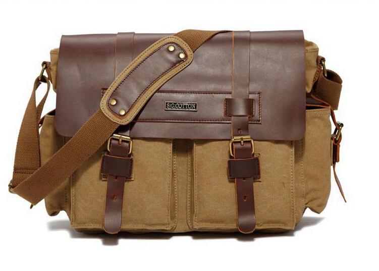 e28a9f01a88e Get Quotations · VEEVAN canvas mens messenger bag 100% genuine leather  Shoulder Bags Men Canvas cross body Bags